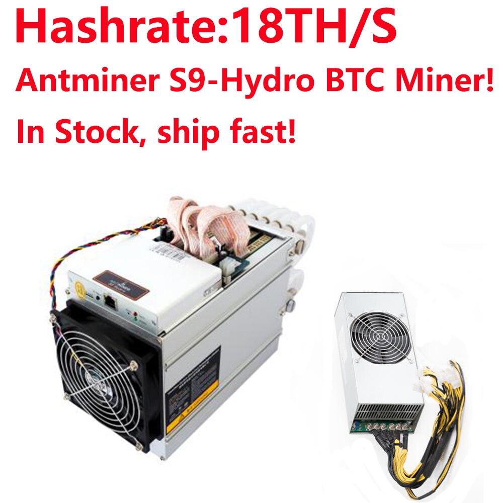 W magazynie! 2018 najnowszy chłodzenie wodne BTC górnik AntMiner S9 Hydro 18T z zasilaczem APW5 Asic Bitecion BCH górnik, niski poziom hałasu