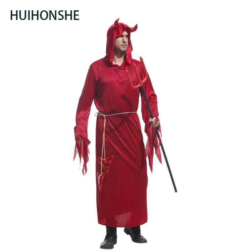 HUIHONSHE Halloween Costumes Adult Men Hooded Evil Red Demon Devil Costume Uniform Robe Fancy Cosplay Clothing for Men