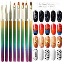 1pcs Gel Polish Nail Art Brush Acrylic UV Painting Drawing Crystal Pen Tools  Brushes For Manicure 7 Styles