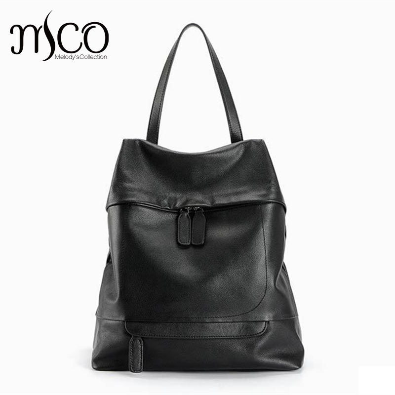 Daily Backpack Women Shoulder Bag Genuine Leather Ladies Travel bag Luxury Brand design Fashion Casual Black backpack schoolbag