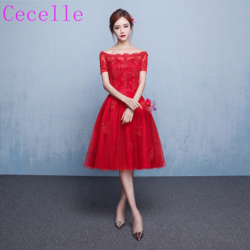 Cheap Red Off the Shoulder   Bridesmaids     Dresses   With Short Sleeves Lace Tulle Lace-up Ready to Ship In stock Wedding Party   Dress
