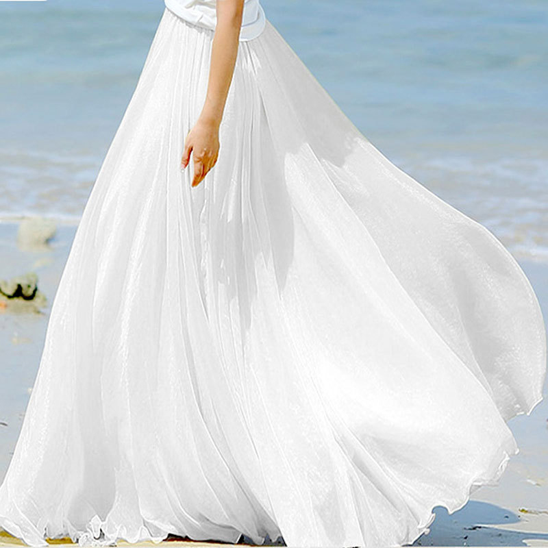 Sherhure 2019 High Waist Women Chiffon Long Skirts Floor Length Ruffles White Summer Boho Maxi Skirt Saia Longa Faldas