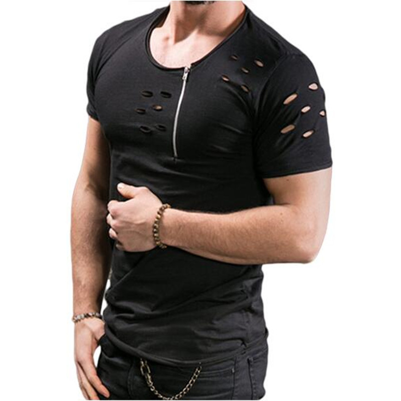 2017 New Fashion Mens Zipper T Shirts Cool Design High Quality Cotton Male Short Sleeve O
