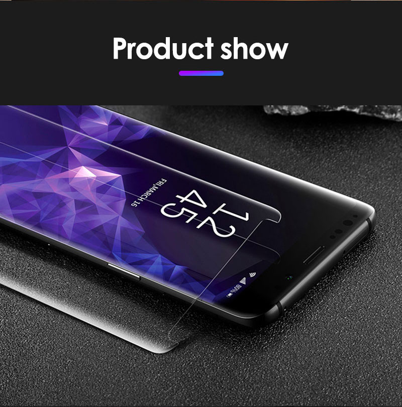 Nano Liquid UV Full Glue Tempered Glass For Samsung S8 S9 Plus S7 Edge Note 8 9 Screen Protector For OPPO Find X With UV Ligh
