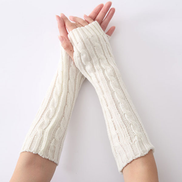 Newly 1pair Long Braid Cable Knit Fingerless Gloves Women Handmade Fashion Soft Gauntlet Practical Casual Gloves DOD886