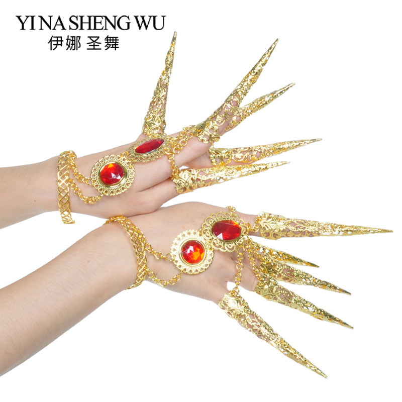 Gold Long Nails Belly Dance Accessories Red Gemstone Nail Women Belly Dance Props Girls Egyptian Indian Dance Long Nails 1 Pair