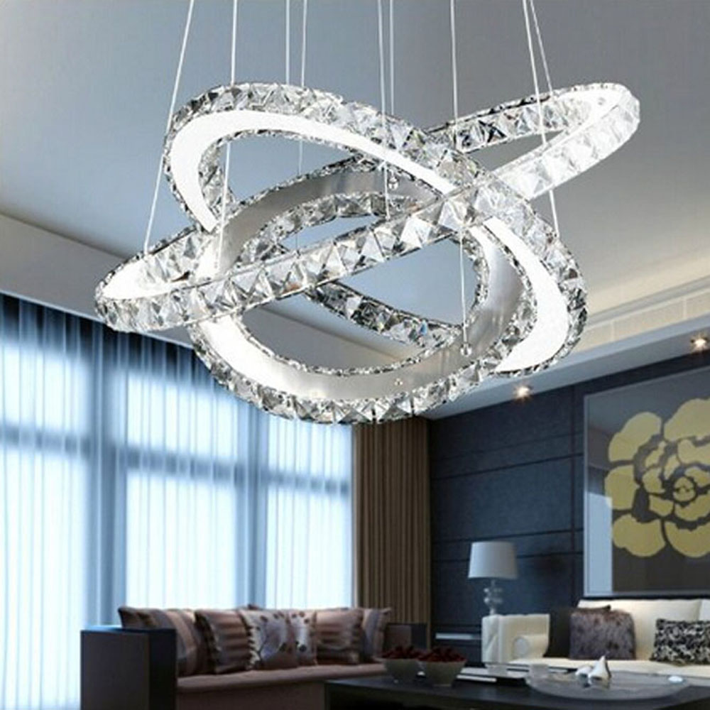 modern Three Rings (15.7 - 23.6 - 31.5 Inches) Clear K9 Crystal Chandelier Ceiling Light Fixture Silver Lampshade Metal base three 100ml