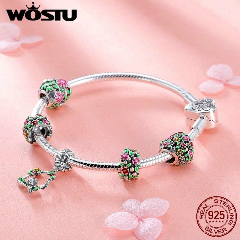 WOSTU Top Vente 925 Sterling Argent Printemps Fleurs, feuilles et Oiseau Charme Bracelet Pour Les Femmes Marque De Mode Perle Bijoux Cadeau CQB804 - 6
