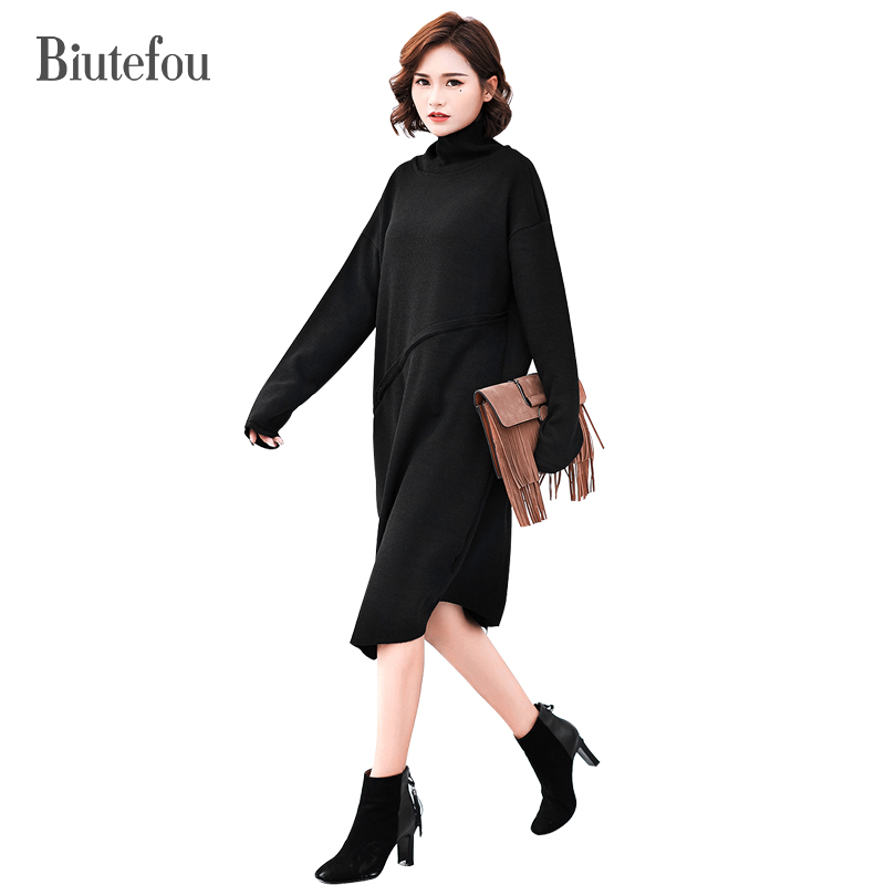 2017 Solid color turtleneck autumn and winter straight dresses women casual new arrival knitted large size