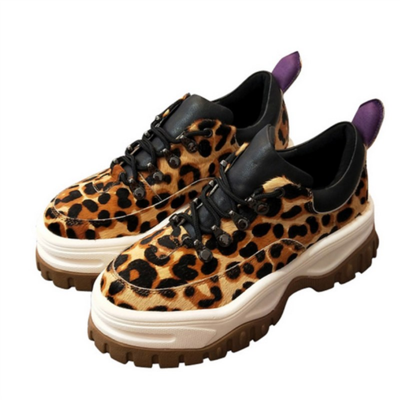 New leopard horse hair fashion platform sports shoes female round head rivet tie thick-soled suede casual flat bottom ladies sho fashion horse hair tassels leather leopard pattern flat shoes black brown pair 37