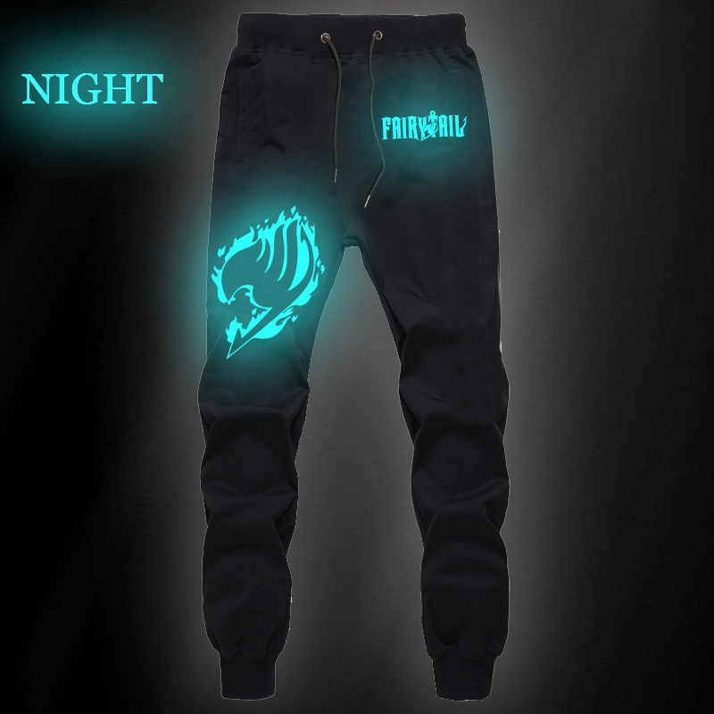 New Summer Sports Sweat Breathable Loose Pants Anime Fairy Tail Luminous Cotton Straight Pants Jogger Fitness Long Trousers
