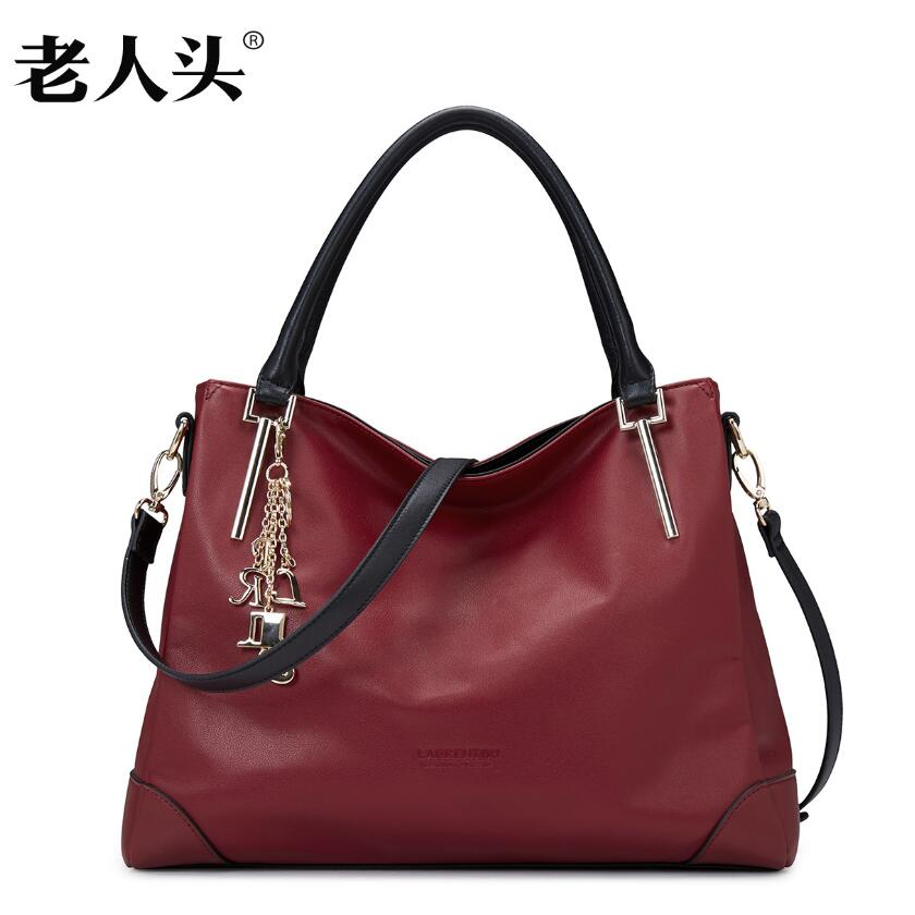 LAORENTOU Famous brands top Cow Leather  women bag  2016 new shoulder Messenger bag Fashion handbags Large capacity Tote bag 2016 new laorentou women genuine leather bag famous brands fashion quality women leather handbags shoulder messenger bag