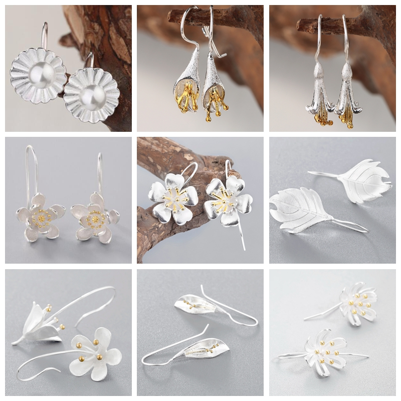 Øreringe 925 Sølvblomster Øreringe 2018 Perler Lotus Blomst Vand Lily Store Koreanske Smykker Fødselsdagsgave til Piger Til ...