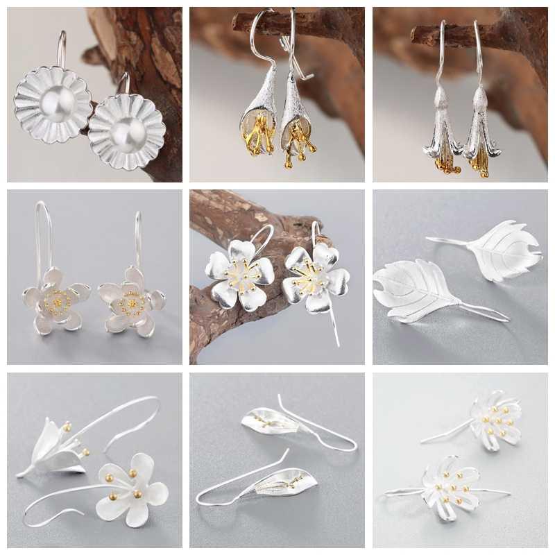 Dangle silver Flower Drop Earrings 2018 Pearl Floral Water Lily Lotus Big Korean Jewelry Birthday Gift Girls Women Earring