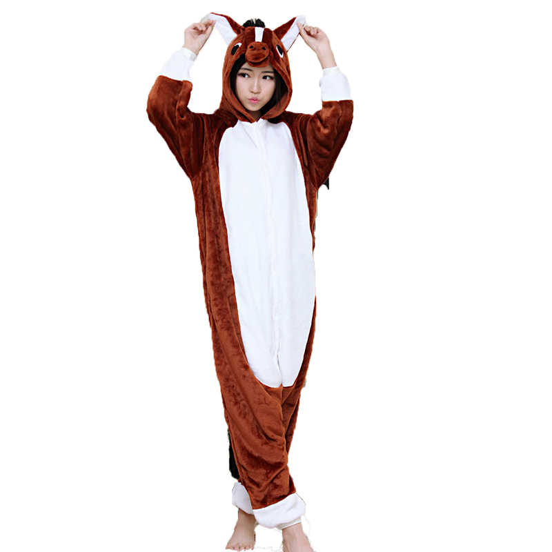 ... Adult Unisex Women Onesie Wholesale Animal Kigurumi Pajamas Brown Horse  Onesies Hooded Jumpsuit Sleepwear Winter Flannel ... cf58ca769