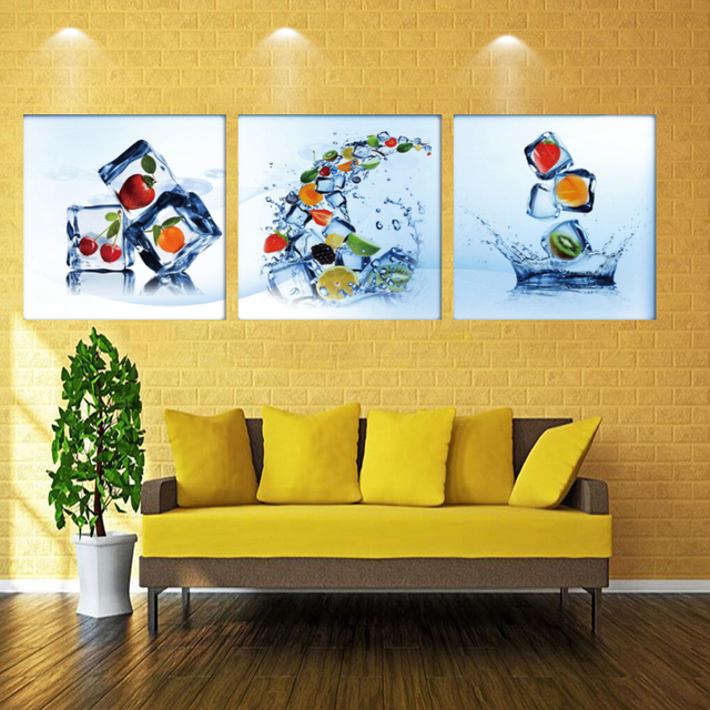 3 Pieces no frame Wall decoration Canvas Prints Cherry strawberry ...