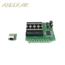 OEM PBC 8 Port Gigabit Ethernet Switch met pin way header 10/100/1000 m hub 8way power Pcb board schroef gat