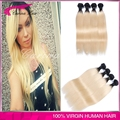 Hot sale Brazilian Virgin Hair Ombre Straight Weave Blonde 1B 613 Straight 4 Bundles Lot