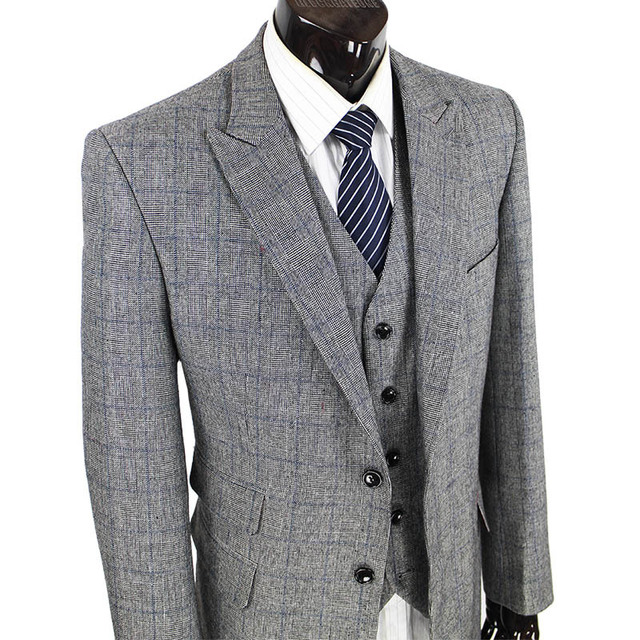 Wool retro gentleman style tailor suits for men wedding for Custom suits and shirts