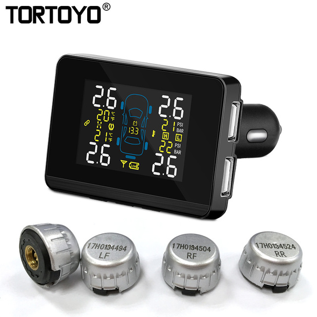 Accurate Car Wireless Tire Pressure Monitoring System TPMS Tester with 4 External Replaceable Battery Sensors Car Charger U906