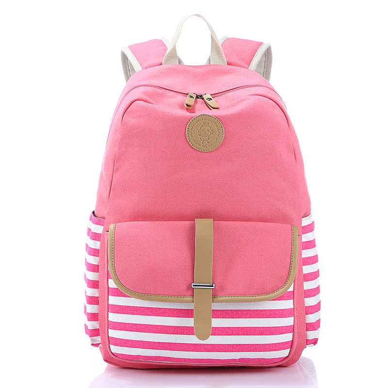 Fashion Backpack Women Casual School Backpack Mochilas Feminina 2016 Striped Canvas Backpack Female big toe sandal