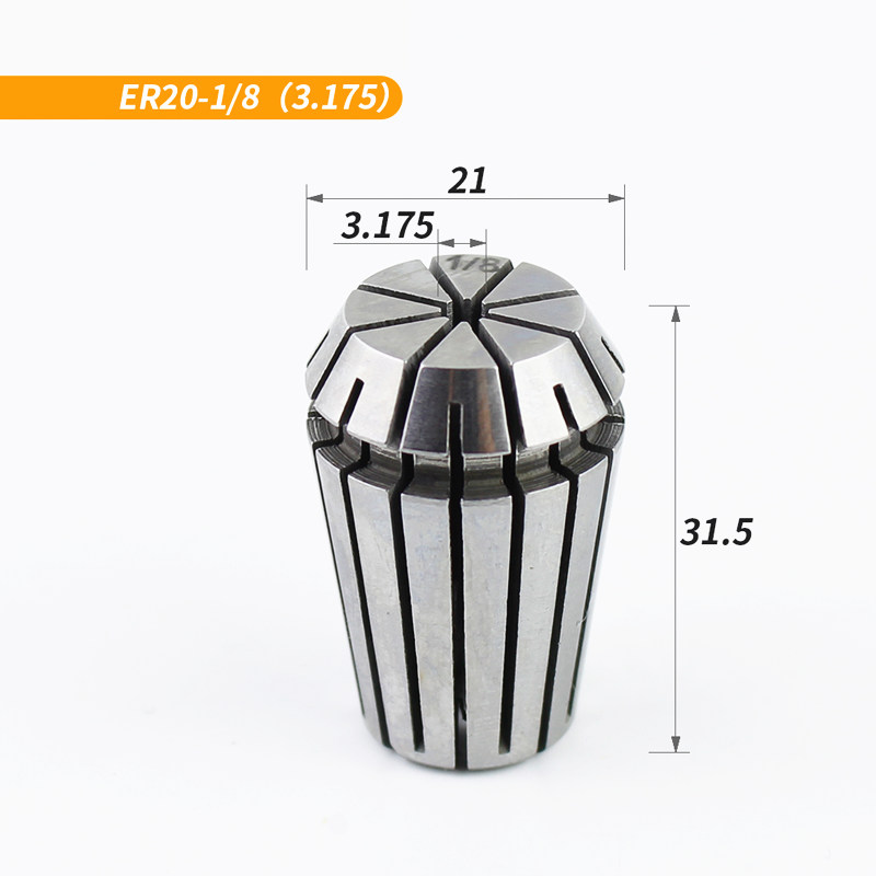 ER20-3.175mm,1pcs,Freeshipping CNC Machine Milling Cutter Collet,Tungsten Steel Solid Carbide End Mill Accessory,Fastening Tool(China)