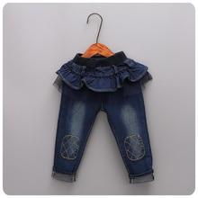 16 Korean Children's Garment Pants Autumn Girl Baby Lace Skirt Split Joint Jeans Girl All-match False 2 Pieces Long Pants