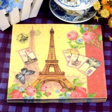 Min Order is $5, WN106 (1 pack )Eiffel Tower pattern Napkin 100% Virgin Wood Tissue for Party Decoration Paper placemat