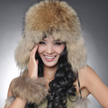 ZDFURS 2016 Real Fox Fur Hat or Racccoon Fur Hat Winter Women Fur Cap Russian Ushanka/Cossack Free Shipping 8 Colors ON Sale