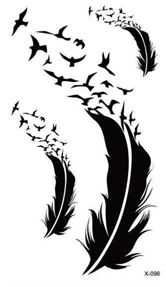 Waterproof Temporary Tattoo Sticker bird feather tattoo font b body b font art Water Transfer fake