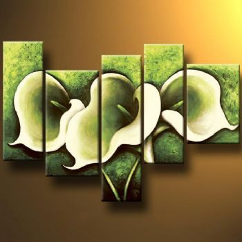 Large Hand Painted 5 pcs canvas painting Green Callas-Modern Canvas Art Wall Decor-Floral Oil Painting Wall pictures Living Room