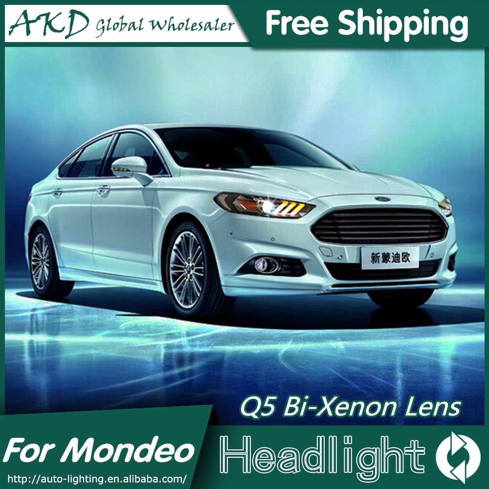 Akd car styling for ford mondeo headlights 2013 2015 mustan style led headlight drl bi