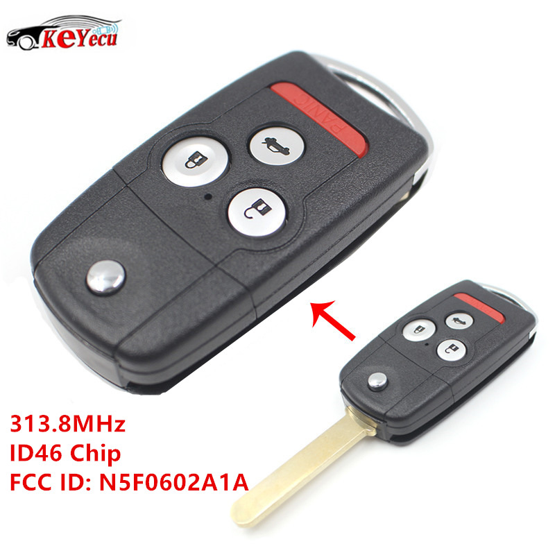 KEYECU 3+1 Button New Replacement Remote Car Key 313.8MHz