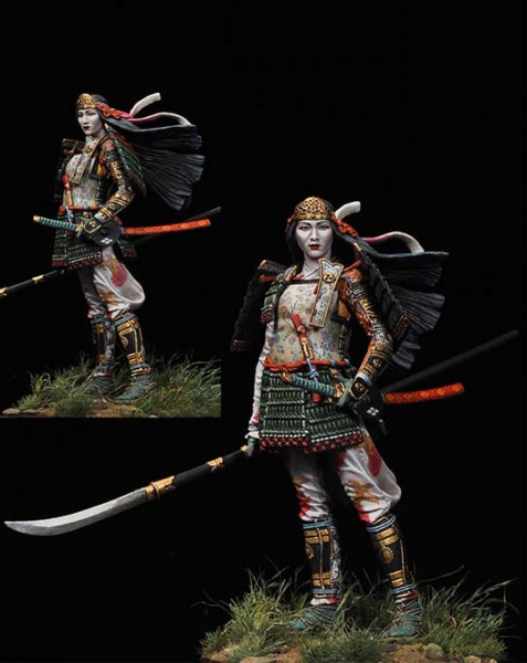 118 Scale 90MM Unpainted Resin Figure Japanese female warrior