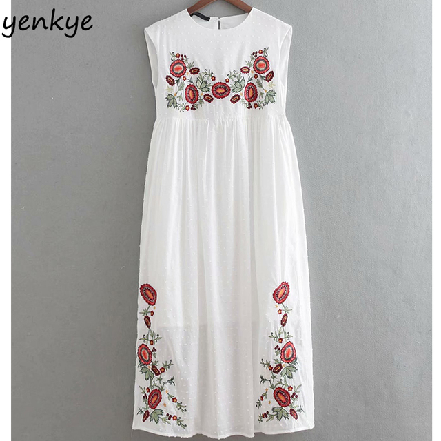 e349faaa Fashion Women Plumetis Embroidered Dress Lady O Neck High Waist Dotted  White Casual Long Dress Summer