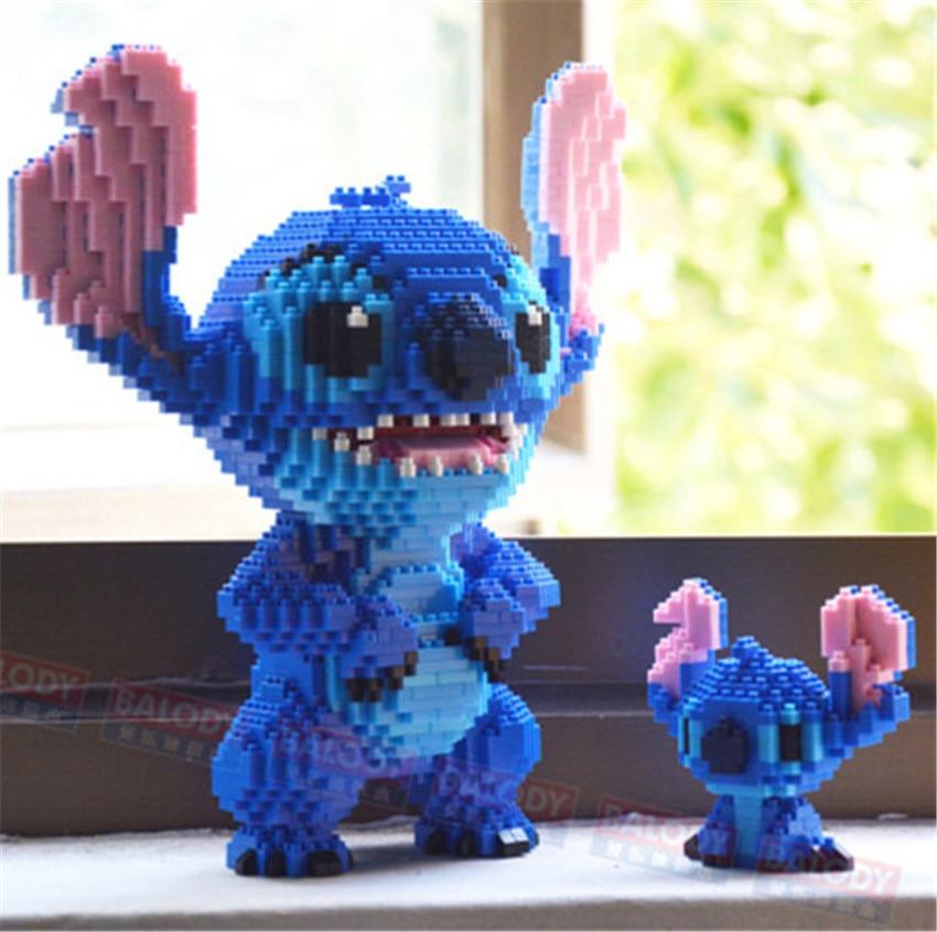 8 Models Balody Mini Blocks Big Size Cute Mar Stitch Sence Model Bricks Luige Assembly Brinquedos Kids Gifts Toys For Children