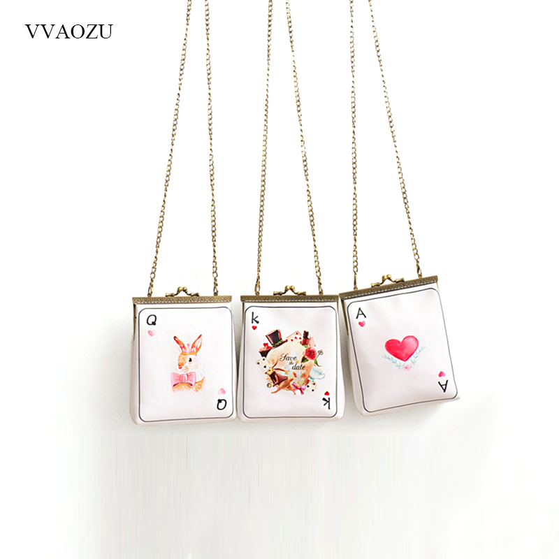 Fashion Poker Style Design Women's Handbag Alice in Wonderland Cosplay Clutch Shoulder Bag Casual Chain Phone Purse Wallet