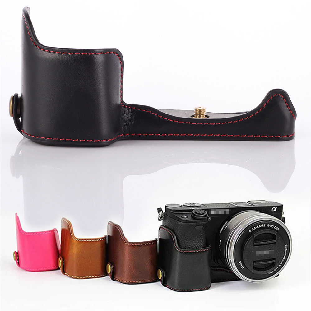 PU Leather Camera Bottom Grip Case Half Opening Cover 1 4 For Sony A5000 A5100