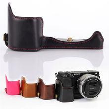 """Из искусственной кожи Камера нижней сцепление случае половина открытия крышки 1/4 """"для Sony A5000 A5100"""