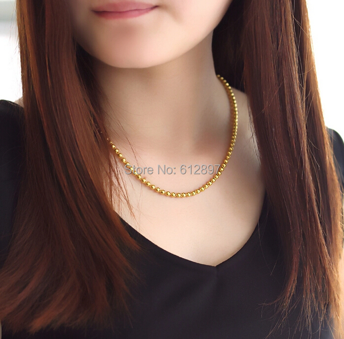 HOT SALE 999 24K YELLOW GOLD NECKLACE / HEAVY SMOOTH BEADS CHAIN FOR WOMEN 17.96g hot sale pure 999 24k yellow gold women s lucky o chain star ring us 7