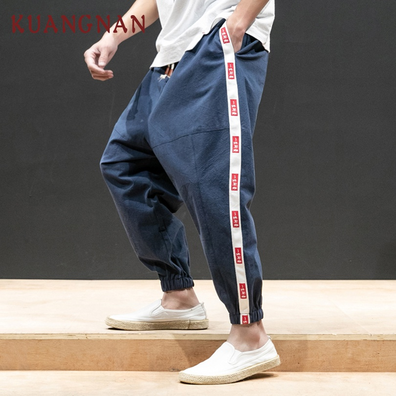 KUANGNAN Trousers Men Pants Japanese Streetwear Chinese Hip-Hop Character