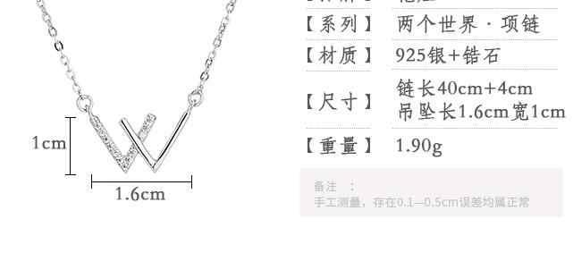 629 ZHAO collier lettres simples petit frais 925 argent W Double V clavicule chaîne femelle