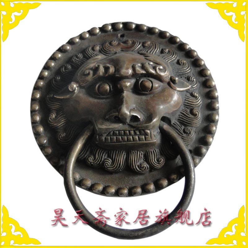 [Haotian vegetarian] Chinese antique copper fittings copper beast lion head door knocker handle first shop HTA-050 chinese antique copper fittings knocker copper handle big lion tiger beast head copper shop first hand ring gate