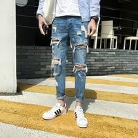New Fashion Hole Jeans Men Hip Hop Skinny Stretch Denim Pencil Pants Distressed Ripped Biker Slim Fit Jeans Male Trouser