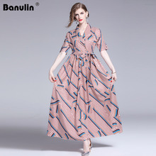 Banulin Women Elegant Party Dresses New 2019 Summer Fashion Runway Maxi Dress Bow Belt Vintage Striped Female Long