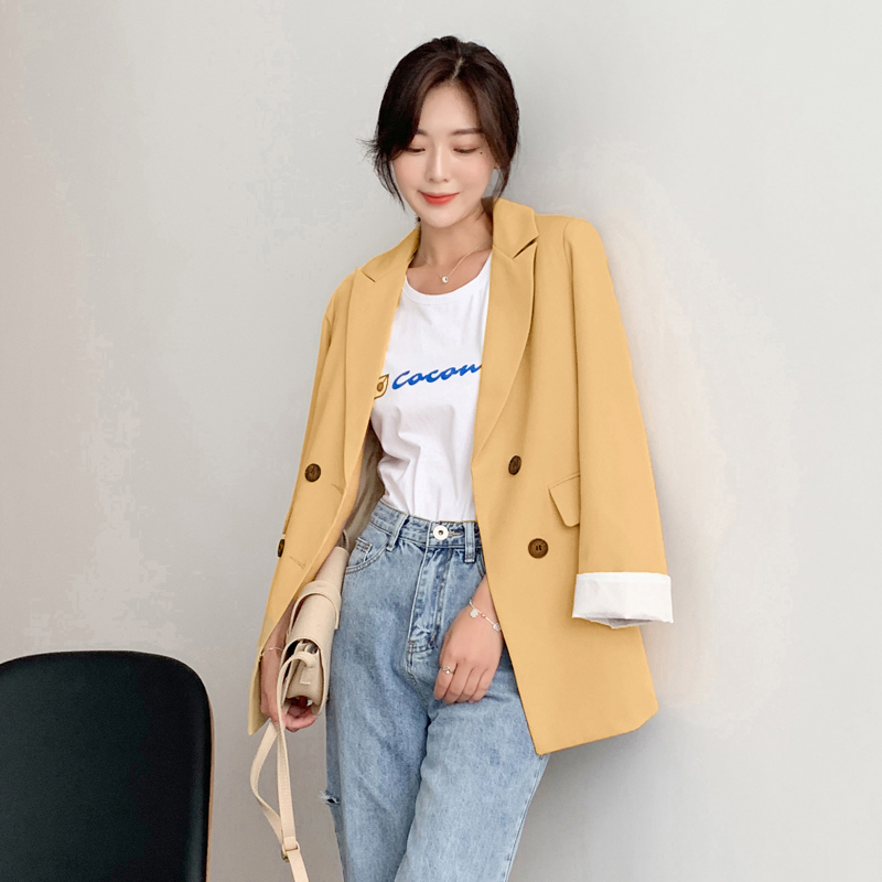 Women Jackets Elegant Yellow Chic-Double-Breasted Ladies Coat Outerwear Female Notched