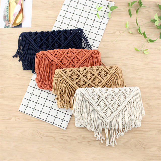 New 2019 tassel straw bag large clamshell cotton hand woven casual female beach bag  Knitted Messenger Bags