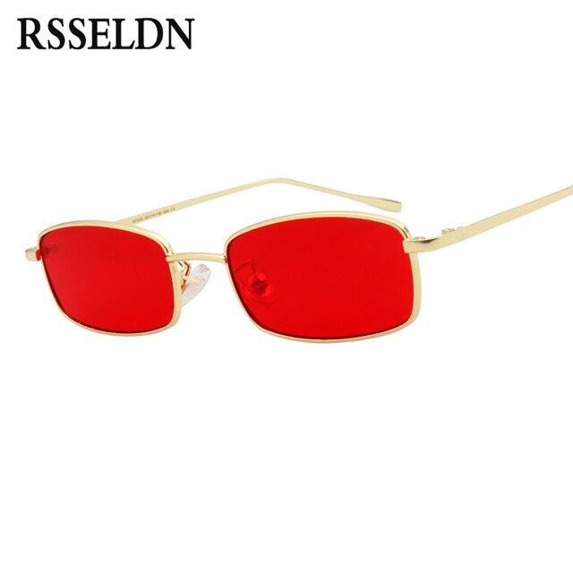 02561dc511 RSSELDN Fashion Small Rectangle Sunglasses Men Brand Designer Metal Frame  Clear Yellow Red Lens Sunglasses Women UV400 Glasses