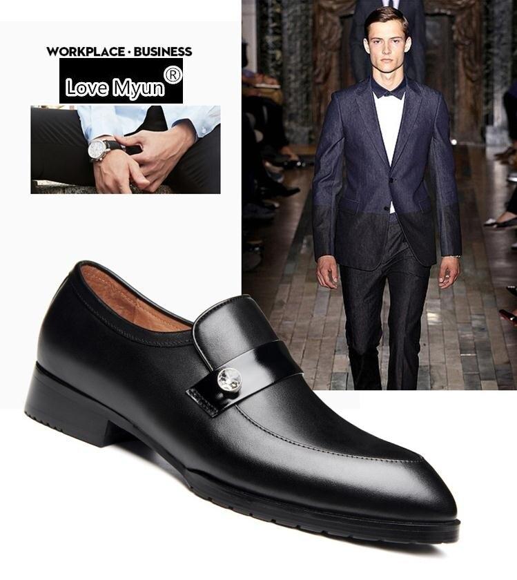 Homme Loisirs De Designer Chaussures Hommes Soirée Marque Véritable Black Habillées Décontractées Noir Mode Cuir Tendance D'affaires En NO8wmn0v
