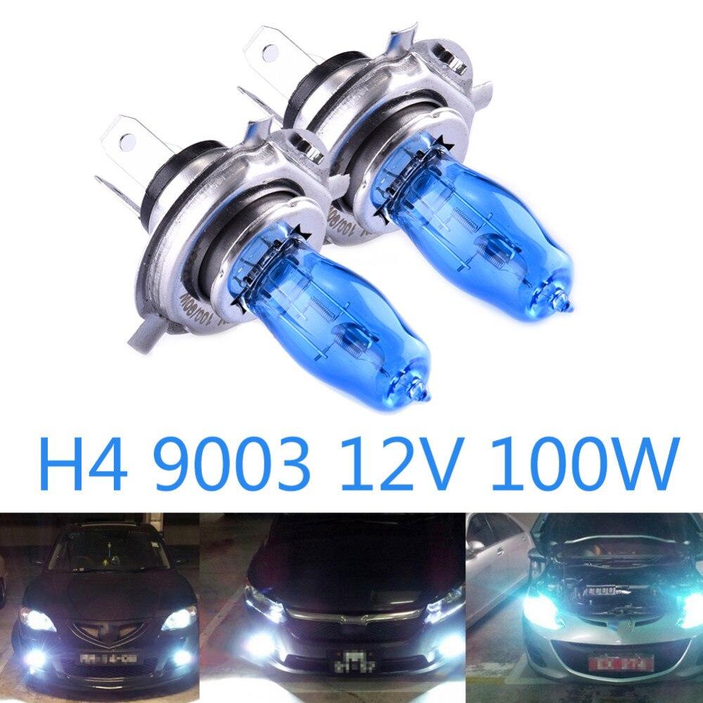 2pcs H4 9003 100W  Halogen Bulbs 12V HOD quartz Ultra-white Light Halogen Bulb 6000K  Car Headlights Lamp Light Source hod h1 100w 1100lm 5500k halogen white car lights 12v 2 pcs